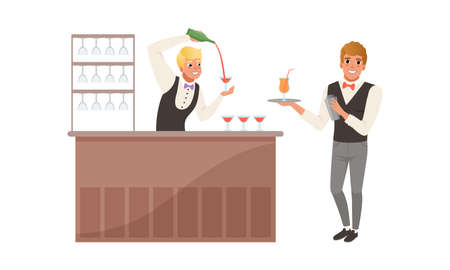 Young Bartender Standing at Bar Counter Pouring Wine in Glass Vector Illustration Set