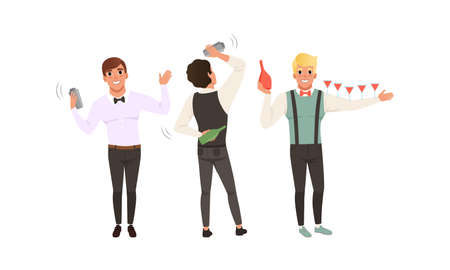 Handsome Bartender Man Character with Bow Tie Shaking Alcoholic Drinks Vector Set Vetores