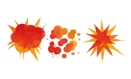 Watercolor Bomb Explosion and Fire Cloud Effect Vector Set  イラスト・ベクター素材