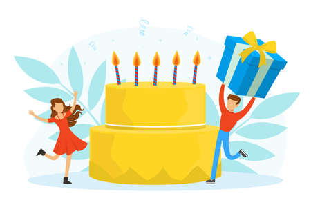 Male and Female Celebrating Birthday with Wrapped Gift Box and Big Cake with Candles Vector Illustration