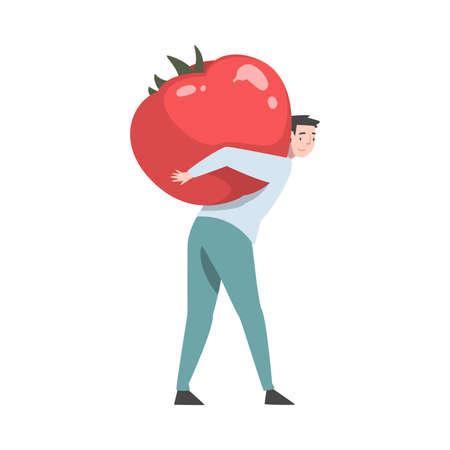Little Man Carrying Huge Ripe Tomato on His Back Vector Illustration