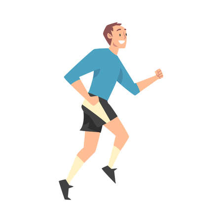 Smiling Man in Sportswear Jogging or Running, Sports Competition, Outdoor Morning Workout, Healthy Active Lifestyle Cartoon Style Vector Illustration