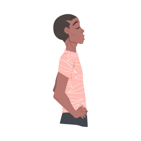 Side View of Young African American Man Dressed in Casual Clothes Cartoon Style Vector Illustration 矢量图像