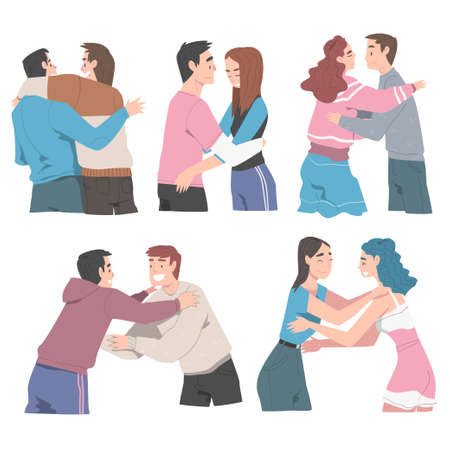 People Hugging Set, Joy Meeting of Friends, Female and Male Friendship Concept Cartoon Style Vector Illustration Çizim