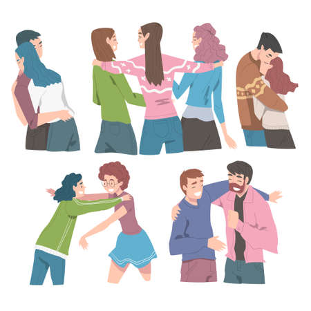 People Hugging Set, Joy Meeting of Friends, Romantic Couple in Love, Friendship Concept Cartoon Style Vector Illustration
