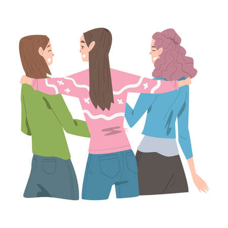 Two Girls Hugging, Back View, Joy Meeting of Friends, Female Friendship Concept Cartoon Style Vector Illustration