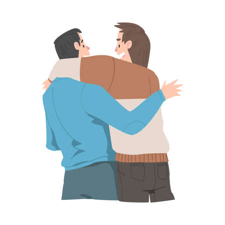 Two Men Hugging, View from Behind, Male Friendship Concept Cartoon Style Vector Illustration