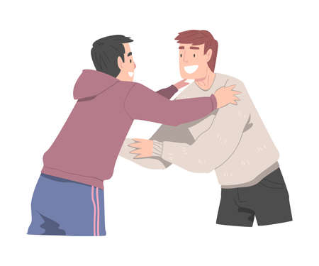 Two Smiling Men Hugging, Joy Meeting of Friends, Male Friendship Concept Cartoon Style Vector Illustration 向量圖像