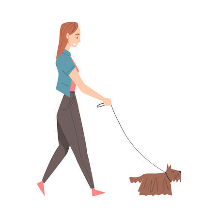 Girl Walking with Dog in Park Cartoon Style Vector Illustration 矢量图像