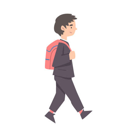 Side View of Cute Boy Walking with Backpack Cartoon Style Vector Illustration
