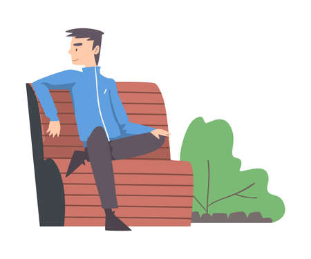Elderly Man Sitting on Bench in Park, Summer Outdoor Activities Cartoon Style Vector Illustration