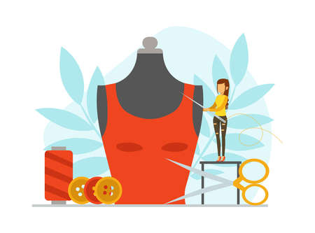 Tiny Seamstress Sewing Fashionable Clothes on Big Mannequin, Dressmaker Creating New Dress Cartoon Vector Illustration