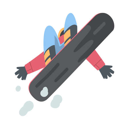 Man Snowboarder Character in Jump, Extreme Sport Activities, Winter Vacation Cartoon Style Vector Illustration