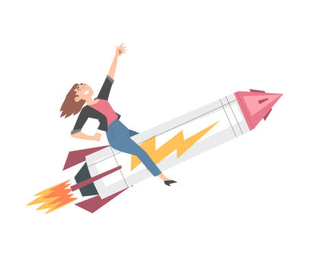 Successful Businesswoman Flying on Rocket Ship, Leadership, Competitive Advantage, Startup Business Concept Cartoon Style Vector Illustration