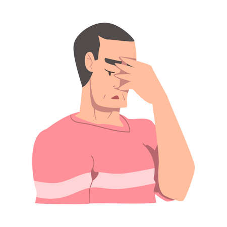 Embarrassed Young Man, Regretful Person Sorry and Apologizing Cartoon Style Vector Illustration