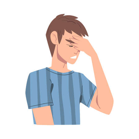 Embarrassed Man Covering his Face with Hand Cartoon, Person Admitting His Guilt Style Vector Illustration