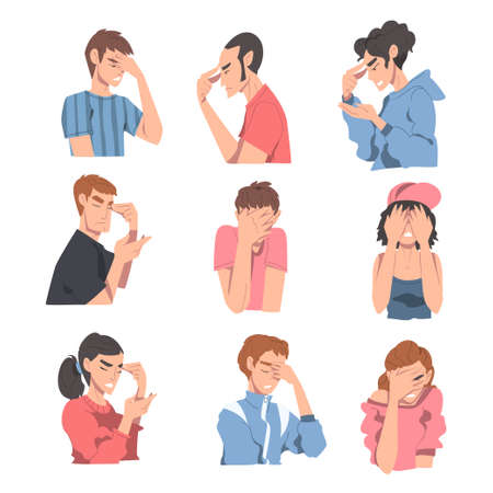 Embarrassed People Set, Regretful Persons Sorry and Apologizing Cartoon Style Vector Illustration Vetores