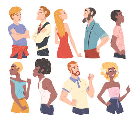 Men and Women with Various Face Expressions Set Cartoon Style Vector Illustration