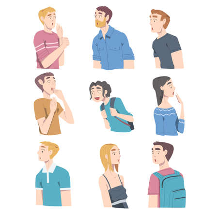 Surprised People, Young Men and Women Looking Shocked Cartoon Style Vector Illustration 矢量图像