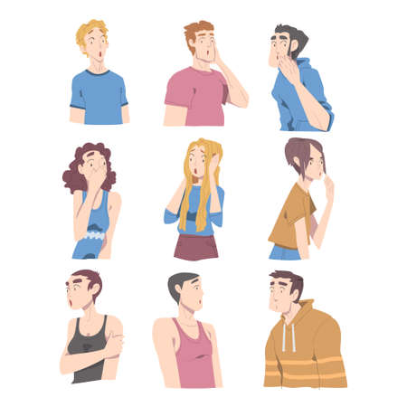 Surprised and Shocked People Set, Male and Female Characters with Frightened Face Expression Cartoon Style Vector Illustration