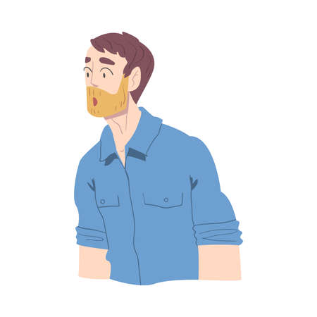 Surprised Bearded Man, Male Person Looking Shocked Cartoon Style Vector Illustration