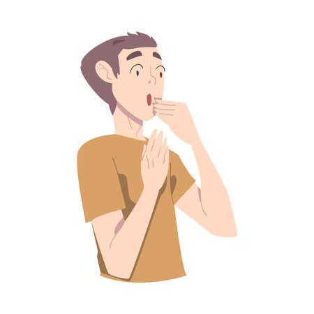 Surprised Guy, Teenage Boy Looking Shocked Cartoon Style Vector Illustration