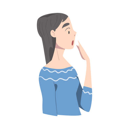 Surprised Girl, Side View of Young Woman wirh Shocked Face Expression Cartoon Style Vector Illustration