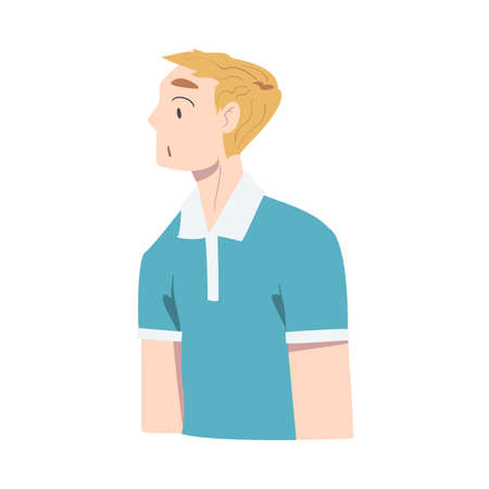 Surprised Guy, Young Man Looking Frightened Cartoon Style Vector Illustration Stock Illustratie