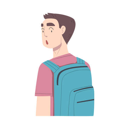 Surprised Guy, Male Student Character with Backpack Looking Shocked Cartoon Style Vector Illustration