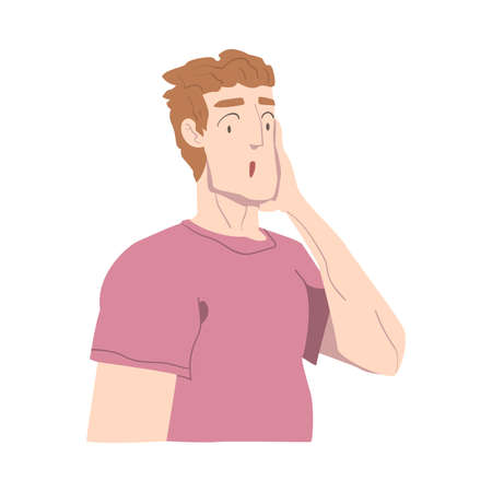 Surprised Guy, Person with Shocked Face Expression Cartoon Style Vector Illustration Stock Illustratie