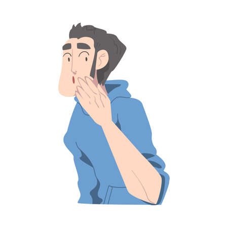 Surprised Guy Closed Mouth by Hand, Young Man with Shocked Face Expression Cartoon Style Vector Illustration Stock Illustratie