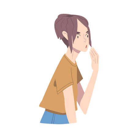 Surprised and Shocked Girl, Person Woman with Frightened Face Expression Cartoon Style Vector Illustration