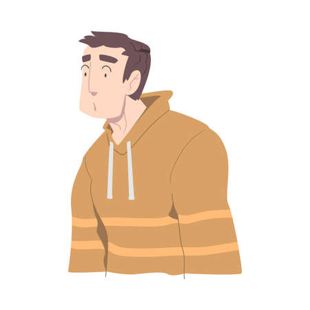 Surprised and Shocked Young Man, Guy with Frightened Face Expression Cartoon Style Vector Illustration