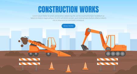 Construction Works Landing Page Template, New Road Building, Heavy Construction Machinery Vector Illustration Ilustración de vector