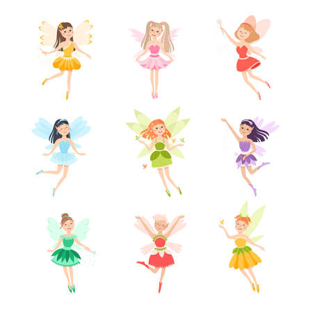 Cute Girls Fairies with Wings Set, Lovely Winged Elves Princesses in Fancy Dress Cartoon Style Vector Illustration