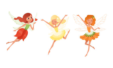 Cute Girls Fairies with Wings Set, Beautiful Girls Flying in Colorful Pretty Dresses Cartoon Vector Illustration