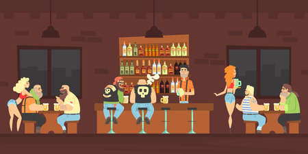 Bikers or Criminal Gang Member Sitting at Counter at Bar Drinking Beer and Chatting, Male Bartender Pouring Beer in Mug at Counter, Beautiful Girls Waitresses Serving Clients Vector Illustration