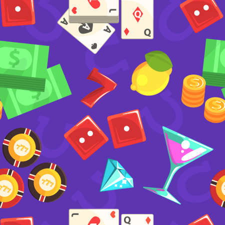 Casino Gambling Seamless Pattern, Game of Chance Symbols Textile, Wallpaper, Wrapping Paper, Background Design Vector Illustration 矢量图像