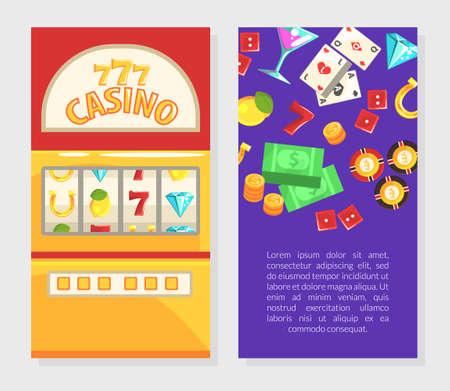 Casino Business Card Template, Gambling Advertising Banner, Poster Cartoon Vector Illustration 矢量图像