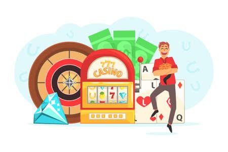 Young Man Gambling, Guy Playing Roulette, Slot Machine, Poker, Casino and Gambling Cartoon Vector Illustration