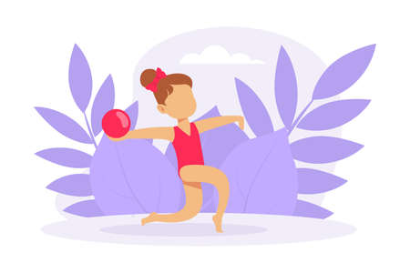 Cute Girl Performing Gymnastic Exercise with Ball, Gymnast Girl Taking Part in Rhythmic Gymnastics Competitions Cartoon Vector Illustration 向量圖像