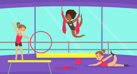 Cute Girl Performing Gymnastic Exercises in Gym, Gymnast Girl Taking Part in Rhythmic Gymnastics Competitions Cartoon Vector Illustration 向量圖像