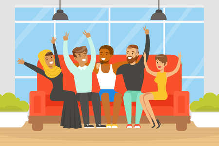 Happy People of Various Nationalities and Cultures Sitting Together on Sofa, Social Diversity, Independent, Equality, Solidarity Vector Illustration Ilustração