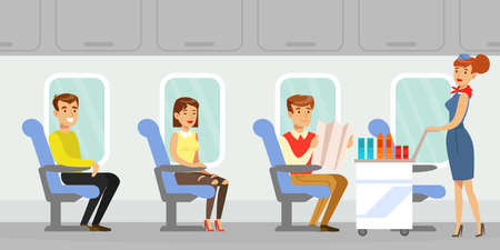 People Traveling by Aircraft, Flight Attendant in Uniform Serving Passengers on Board of Airplane Vector Illustration