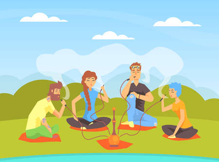 Young People Smoking Hookah while Sitting on Summer Natural Landscape Cartoon Vector Illustration