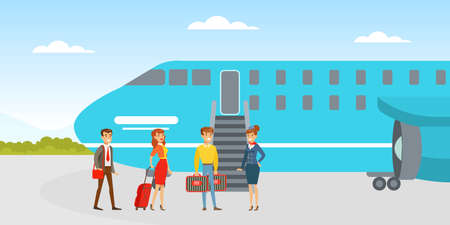 People Boarding on Airplane, Passenger and Stewardess Standing at Jet Ladder to Board for Travel in Airport Cartoon Vector Illustration