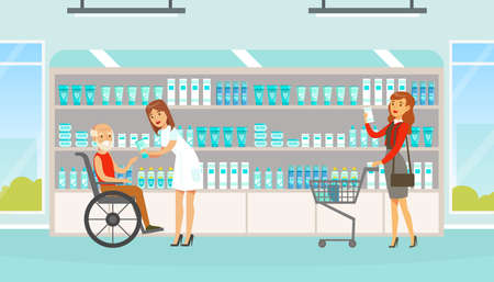 People Choosing and Buying Tablets and Pills in Pharmacy, Woman Pharmacist Helping them to Choose Medications, Modern Pharmacy and Drugstore Interior Vector Illustration
