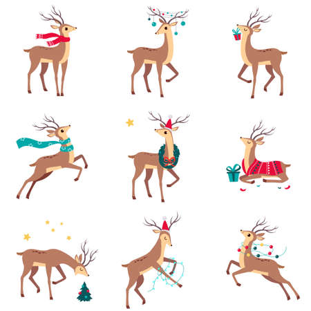 Beautiful Christmas Deers Set, Merry Xmas and New Year, Happy Winter Holidays Concept Cartoon Style Vector Illustration
