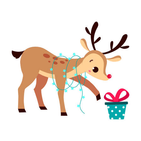 Adorable Christmas Fawn with Gift Box and Garland, Merry Xmas and New Year, Happy Winter Holidays Concept Cartoon Style Vector Illustration