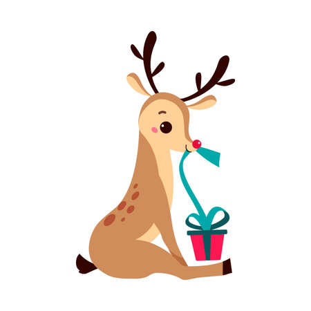 Cute Christmas Fawn with Present Box, Merry Xmas and New Year, Happy Winter Holidays Concept Cartoon Style Vector Illustration